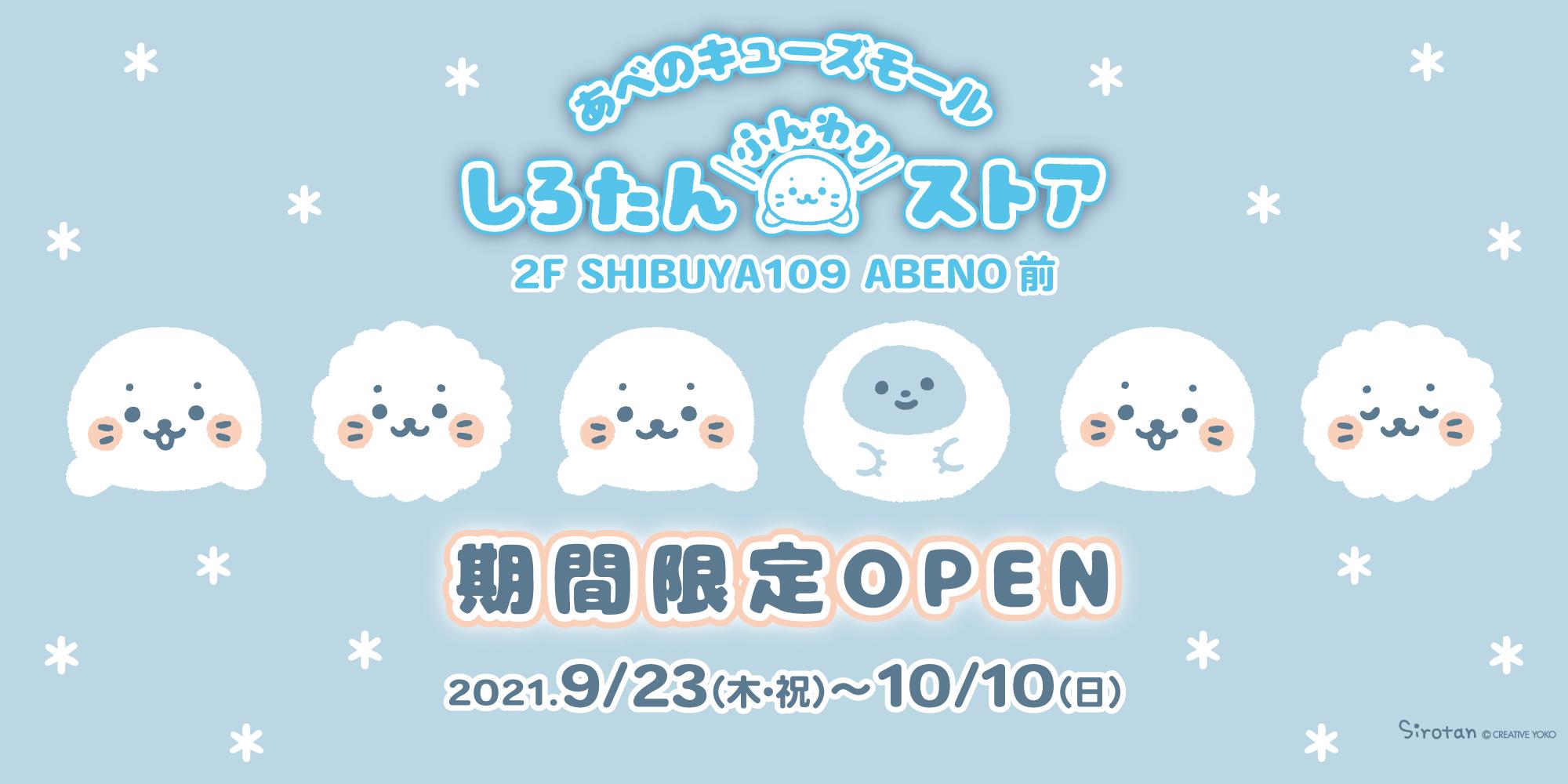 【9/23(木祝)~10/10(日)】あべのキューズモール しろたんふんわりストア期間限定OPEN!